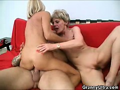 dick grinding grannies in a threesome
