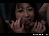 Threesomed Japanese tramp nailed from behind sucks horny