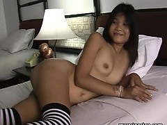 barely legal bitch asian chick shows off her bod