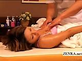Subtitled CMNF tan Japanese cougar erotic oil massage