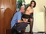 She is older but she stills enjoy in big cock gagging