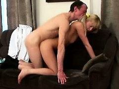 gorgeous blonde chick visits her old professor to get an a sexy