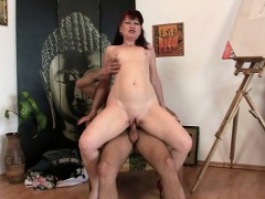 mature-paintress-rides-his-young-cock