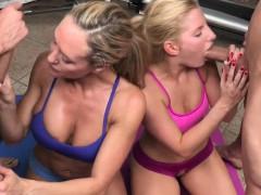 CFNM emdom milf Brandi Love in foursome