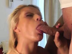 Blonde euro facial adoring slut sucks