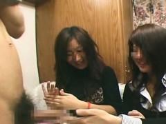 subtitled cfnm japanese amateurs hokey handjob duo