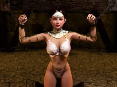 Chained 3d babe sucks monsters cocks