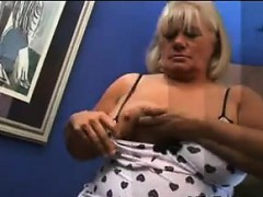 Big Blonde Mature Woman Rubs Cock With Pussy