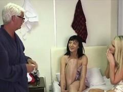 two-cfnm-british-girls-giving-handjob-to-naked-older-guy