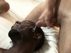 Black Hunk Learns What Bukkake Is The Proper Way