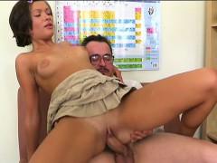 Naughty Playgirl Is Riding On Teacher's Hard Rod Zealously