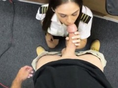 Pretty latina stewardess pawning her stuff and pussy banged