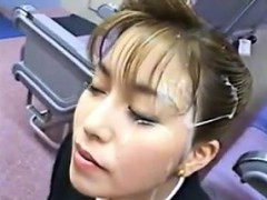 Japanese Stewardess Enjoys A Bukkake