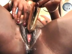 white-perv-teases-a-sweet-african-pussy-with-his-fingers