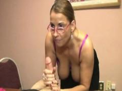 tugging-cougar-teacher-gets-glasses-cumshot