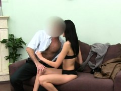 Horny blondie sex on red ottoman