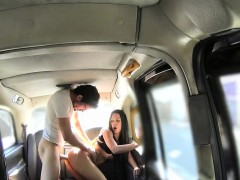 Boyfriend Fucks Brunette Slut At Taxi Backseat