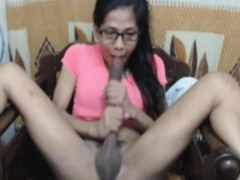nerdy-shemale-slurps-own-cock