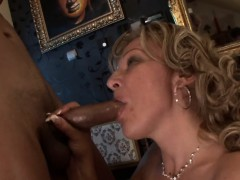 sweet blonde granny takes a black cock in her butt