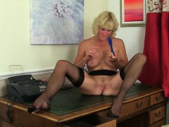 british-milf-clare-strips-off-her-secretary-outfit-and-plays