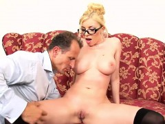Busty secretary has her tight pussy slammed