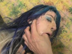 blue haired emo slut orion star getting her face smashed