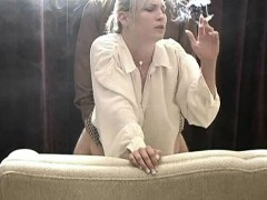 Lustful blonde takes a hard banging doggy style and smokes