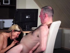 sexy girl humping old man vagina fuck blowjob sperm swallow