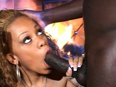 enticing ebony beauty goes wild for a big black dick by the fireplace