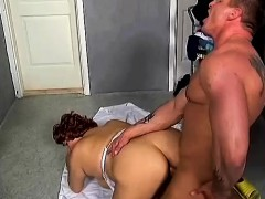 fat redhead loves to ride a hard pole and to take it deep doggy style
