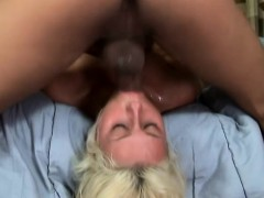 Sexy slender blonde with nice boobs has a big stick filling her mouth