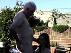 grandpa nails a sexy girl outdoor