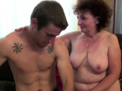grandma seduce young boy to lost virgin and fuck her