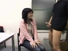 fully dressed asian teen with glasses teases and blows a ha