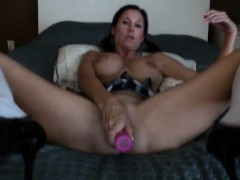 Ponytailed Nymphomaniac With Ideal Big Breasts Fucks Herself Wit
