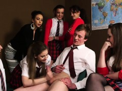 schoolgirls play with a bad boy