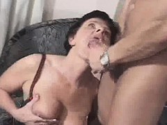 granny gets a mouthful of jizz