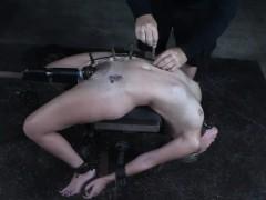 Restrained Slut Toyed With Custom Made Object