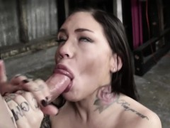 Tattooed oral slave Karma cumswallows