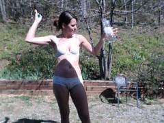 skinny-brunette-in-sunnies-in-white-lingerie-shows-off-her