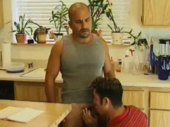 Kitchen Blowjobs For These Muscled Men