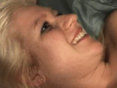 cute amateur gets facial from three guys