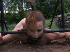 outdoor-sub-humiliated-with-water-in-pillory