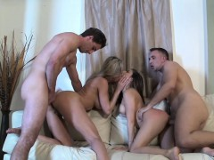milf and girl slut foursome with huge cocks on the couch