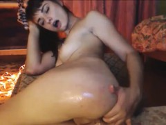Horny Teen Oiled Ass Dildoing