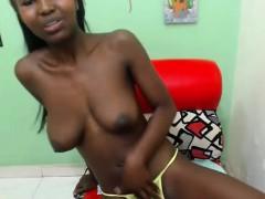 Teen Busty Ebony Fingers Pussy Under The Pants
