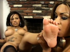 slender chocolate beauties surrender their lovely feet to one another WWW.ONSEXO.COM