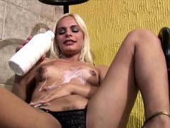 Blonde Shedoll With Natural Tits Enjoys Milk Bath And Jerks