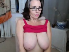 old woman shows her huge shaggy tits