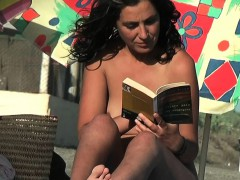 a very kinky girl in a spanish nudist beach